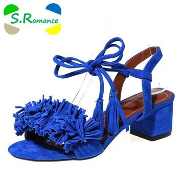 S.Romance Women Sandals Plus Size 34-43 New Hot Fashion Summer Office Mid Heel Casual