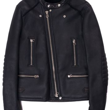 Lanvin Black Leather Shearling Zippered Biker Jacket