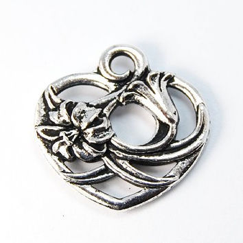 TierraCast Antique Silver Floral Heart Charm -1