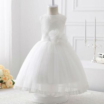 New Style flower girl dress Luxury A-line White Tulle With Lace Flower Girl Dresses