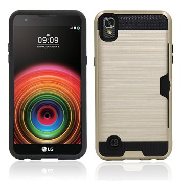 Hybrid Armor Case Hard Aluminum Plated Slot Card Holder Case Shockproof Silicone PC Phone Cover For LG X Power K210 K220 K220ds@