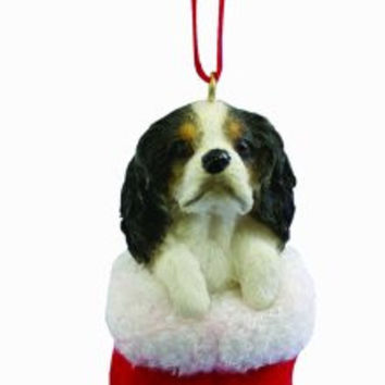 "King Charles Spaniel Christmas Stocking Ornament with ""Santa's Little Pals"" Hand Painted and Stitched Detail"