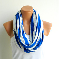 Infinity Scarf, textile Blue,White Scarf,Loop Scarf,Circle Scarf,Cowl Scarf,Nomad Cowl....Striped Scarf