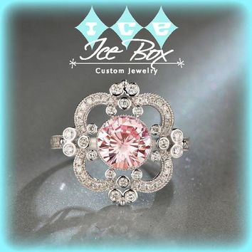 Moissanite Engagement Ring 7.5mm, 1.5ct Round Brilliant Peachy Pink Moissanite in a 14k White Gold Diamond Halo Art Deco Nouveau Vintage