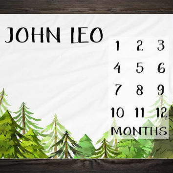 Forest Milestone Blanket Month Growth Tracker Minky Fleece Blanket Baby Shower Gift Rustic Baby Boy Nursery Trees Woodland Watercolor