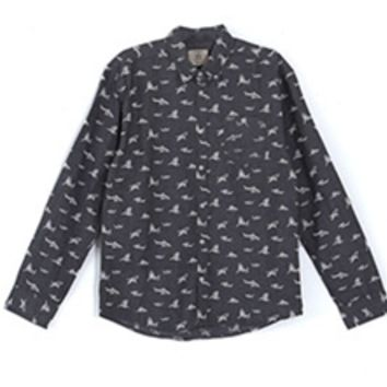 Gliks - Artistry in Motion Shark Print Shirt in Charcoal for Men
