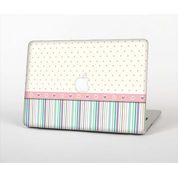 The Polka Dots with Green and Purple Stripes Skin Set for the Apple MacBook Air 11""