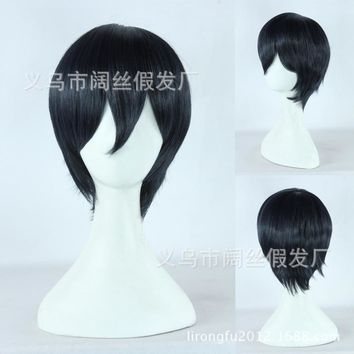 Nanase Haruka From Free !! Navy Blue Black Mix Short Fluffy Layered Synthetic Hair Cosplay Costume Wigs Heat Resistance Fiber