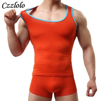 Czzlolo Brand Men's Undershirt Solid Cotton Summer O-Neck Undershirts Breathable Men Undershirt tight fitting sleeveless Vest