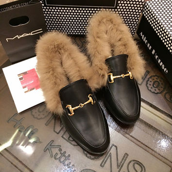 Slipony Women Girl Slip On Soft Real Rabbit Fur Warm Casual Shoes 2016 New Footwear Woman Autumn Winter Warm Loafer Flats