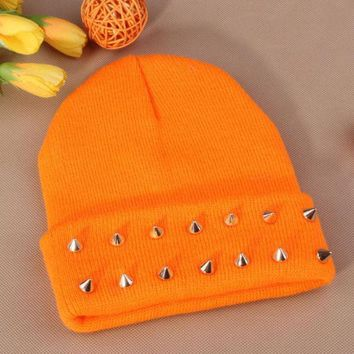ac NOOW2 Gothic Punk Industrial Emo Edm Ebm Rave Rock Metal Stud Bullet Autumn Winter Warm Womens & Mens Knitted Beanie Orange Cuffed Skully Hat