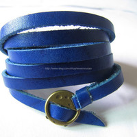 Blue Leather Fashion Bracelet With Metal Buckle Adjustable 455S