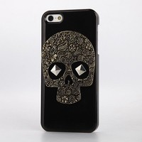 Retro Punk Style Golden Bronze Skull Stud Hard Back Case Cover For iPhone 4/4S