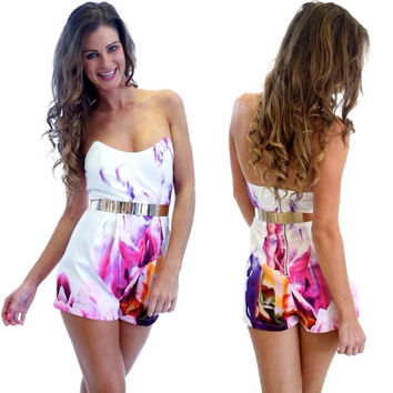 Strapless Printed Romper