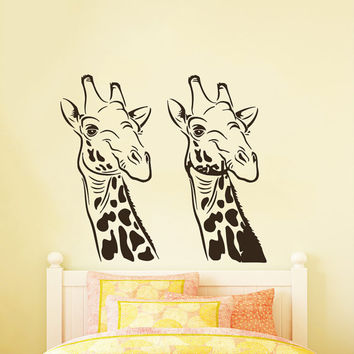 Wall Decals Giraffe Animals Jungle Safari African Childrens Decor Kids Vinyl Sticker Wall Decal Nursery Bedroom Murals Playroom Art SV6055