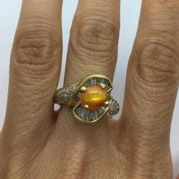 1 Carat Opal and 5 Baguette Diamond 14K Yellow Gold Ring