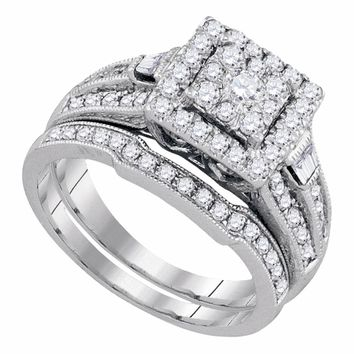 14kt White Gold Womens Round Diamond Square Bridal Wedding Engagement Ring Band Set 1.00 Cttw