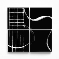 Acoustic Guitar Abstraction Wood Canvas Music Wall Art (Various Color Options w/ White) Screenprint/Painting