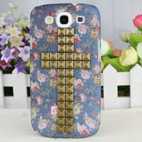 Bronze Stud Beautiful Floret Hard Case Cover for Samsung Galaxy S3 i9300