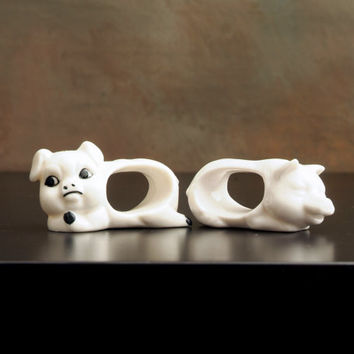 Two Cute Pig Napkin Rings, China Napkin Rings, White Porcelain Pigs, Tableware, Table Setting, Animals, Animal Figurines, Decor