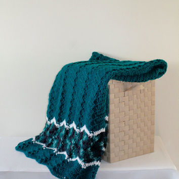 Afghan - Ripple Crochet Blanket - Teal Throw - Full Size Ripple Afghan