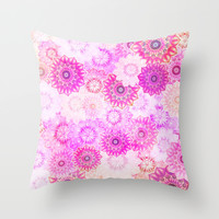 Mandala Flowers in a Colorful Pattern Throw Pillow by Octavia Soldani