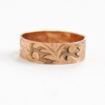 Antique Victorian 10k Rose Gold Men's Ring - Size 11 Vintage Late 1800s Thick Cigar Style Wedding Band Jewelry
