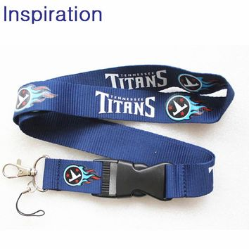 Tennessee Titans Football Necklace Lanyard Neck Strap For ID Pass Card Badge Gym Key Phone USB Holder Lanyard With Keychain