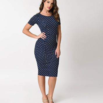 Unique Vintage 1960s Style Navy & Ivory Dotted Short Sleeve Stretch Mod Wiggle Dress