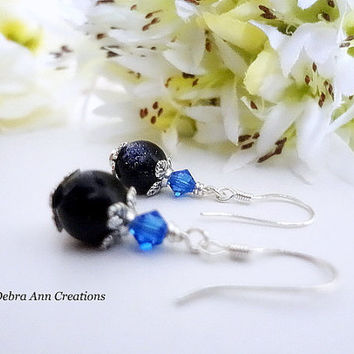 Blue Goldstone Earrings Swarovski Sapphire Crystal Earrings Gold Stone Jewelry Navy Blue Bridesmaid Earring Navy Blue Wedding Bridal Jewelry