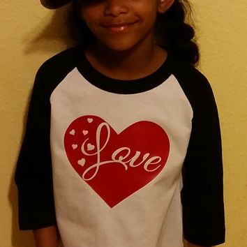 Valentines Day Love  in a Heart toddler Raglan  Tshirt , Flawless Baseball Shirts,  Flawless youth T - Shirt