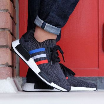 Best Online Sale Adidas NMD R1 PK- Tri Color - Black Boost Sport Running Shoes Classic Casual Shoes Sneakers