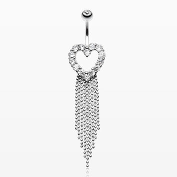 Heart Sparkle Showers Belly Button Ring