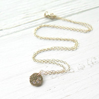 Three Wishes Circle Necklace in 14K Gold, Minimalist Necklace, CZ Gold Vermeil Charm Necklace, Tiny Circle Necklace, Everyday Necklace