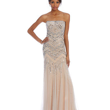Adrianna Papell Strapless Beaded Gown | Dillards