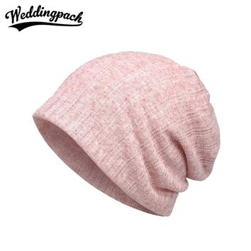 2 PCS Solid Breathable Hats Women Beanies 2 Use Hat Scarf Thin Knitted Cotton Female Beanies Spring Summer Gorro Feminino Chapeu