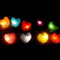 Colorful Heart Shaped Handmade Mulberry Paper String Light Lanterns