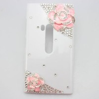 piaopiao bling 3D white case pink flower diamond crystal hard back cover for Nokia Lumia 900