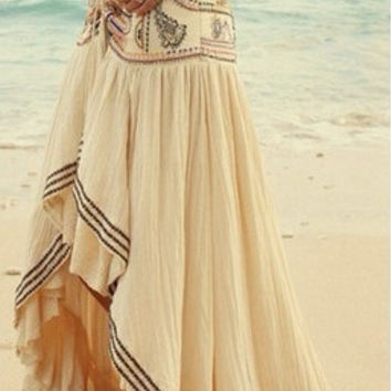 European style 2015 summer new asymmetrical patchwork ladies sexy lace skirts fashion women's bohemian long skirts beach dresses = 1928473924