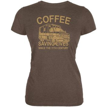 DCCKU3R Coffee Ambulance Saving Lives Juniors Soft T Shirt