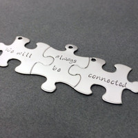3 Friendship Keychains, Set of 3 Puzzle Key Chains, We will always be connected , Anniversary Gift