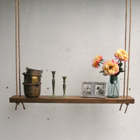 Rustic Hanging Oak Accent Shelf made with by ReclaimedTrends