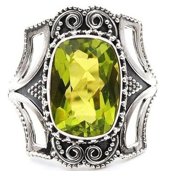 Victorian Peridot sterling silver ring size 8