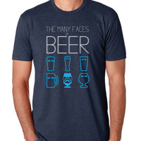 """THE MANY FACES OF BEER"" - (NAVY BLUE) - mens beer shirt"