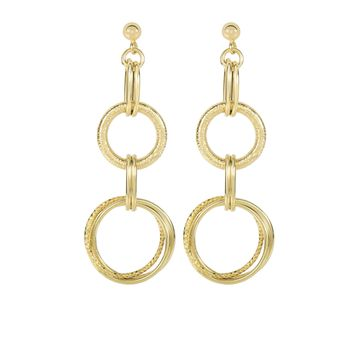 14K Yellow Gold 18.5X55mm Textured+Diamond Cut Gr Aduated Round+Shiny Double Oval Drop Earring On Ba Ll Stud with Push Back Clasp