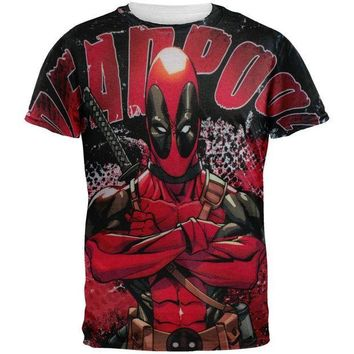 PEAPGQ9 Deadpool - Deadly Skills All Over Adult T-Shirt