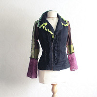 Upcycled Clothing Black Bohemian Jacket Lime Green Fringed Jacket Purple Sleeves Eco Friendly Women's Clothes Medium 'PAIGE'