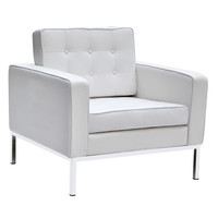 Button Arm Chair in Wool, White