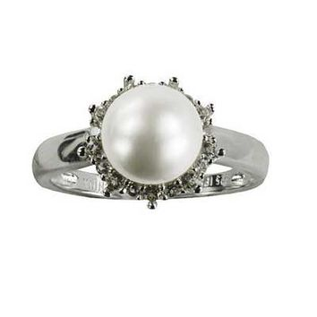 8.0 - 8.5mm Cultured Freshwater Pearl and White Topaz Ring in Sterling Silver - Size 7 - View All Rings - Zales
