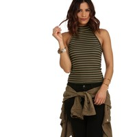 Olive Striped Ribbed Top